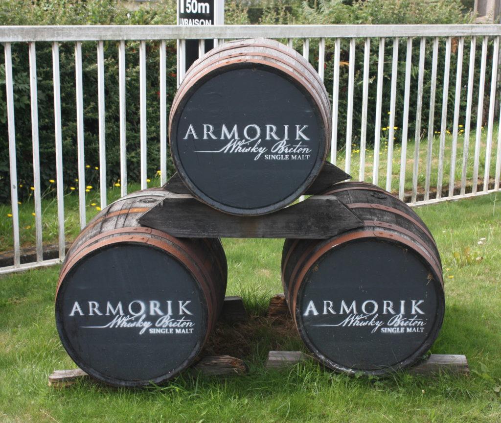Decorative casks at the entrance of Warenghem Distillery