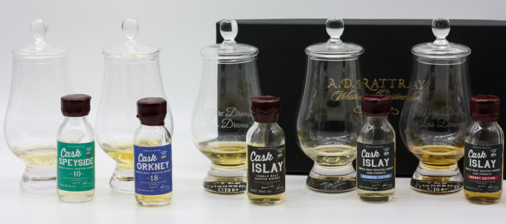 AD Rattray Tweet Tasting lineup, poured in the Glencairns
