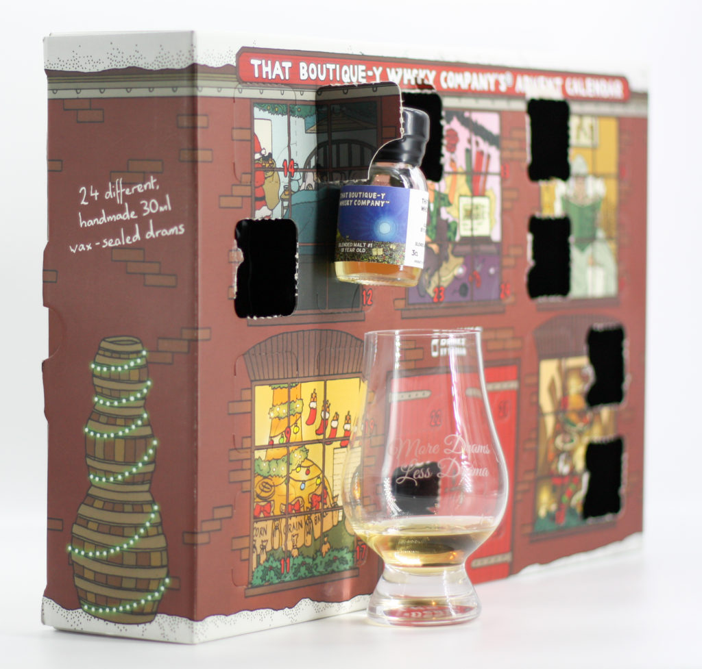 """Blended Malt #1 18yo batch 3 """"floating in the air"""" in front of its window."""