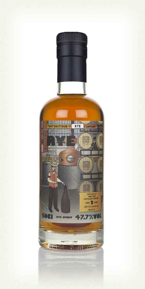 The bottle of New York Distilling Company 2yo batch 3 rye spirit bottled by That Boutique-y Rye Company